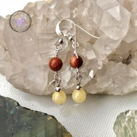 Goldstone & Yellow Calcite Silver Earrings